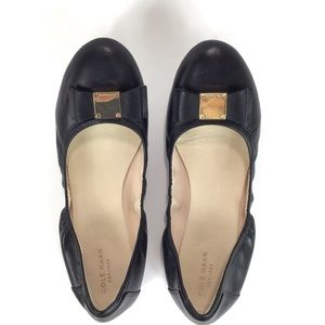 Cole Haan Ballet Flats Tali Soft Bow Black Gold